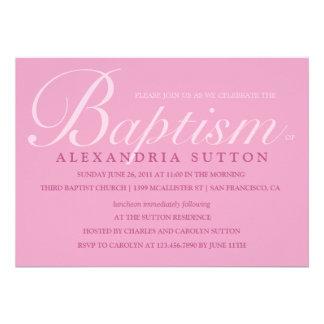 El bautismo el bautizo rosados simples invita