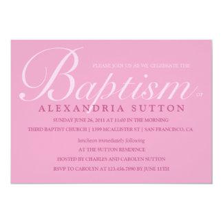 El bautismo/el bautizo rosados simples invita invitación 12,7 x 17,8 cm