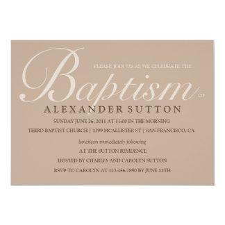 El bautismo/el bautizo simples de Brown invita Invitación 12,7 X 17,8 Cm