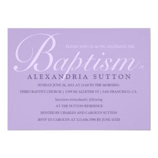 El bautismo/el bautizo simples de la lavanda invitación 12,7 x 17,8 cm