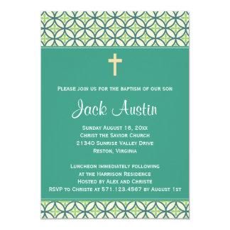 El bautismo/el bautizo verdes invita invitación personalizada