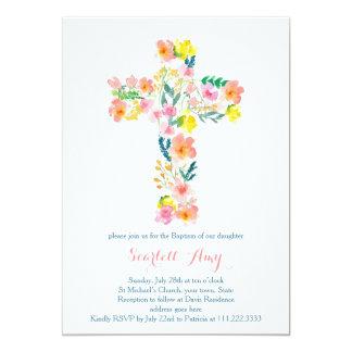 el bautismo floral invita, rosa que la cruz invitación 12,7 x 17,8 cm