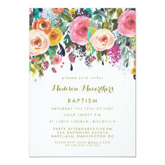 El bautismo floral pintado del bautizo de los invitación 12,7 x 17,8 cm