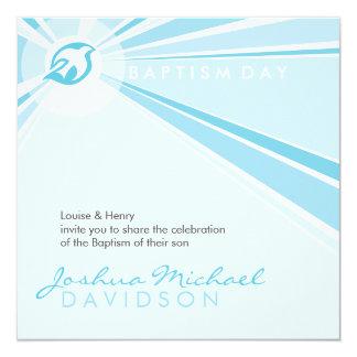 EL BAUTISMO INVITA:: paloma moderna 9SQ Invitación 13,3 Cm X 13,3cm