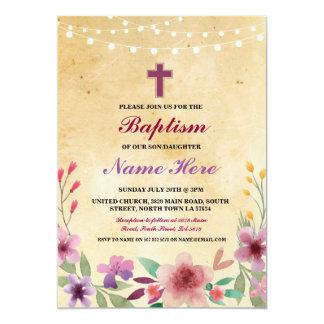 El bautismo Jesús cruzado floral del bautizo del Invitación 12,7 X 17,8 Cm