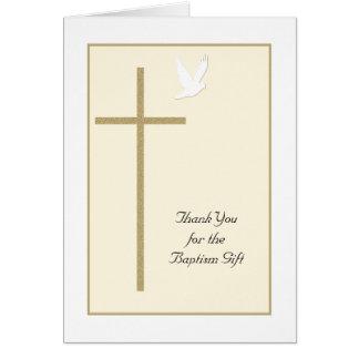El bautismo le agradece cardar -- Cruz y paloma Tarjeta De Felicitación