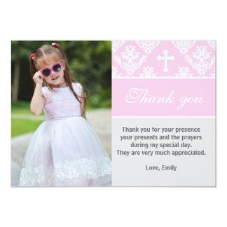 El bautismo le agradece observar rosa de encargo invitación 12,7 x 17,8 cm