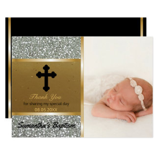 El bautismo le agradece oro de encargo de la plata invitación 12,7 x 17,8 cm