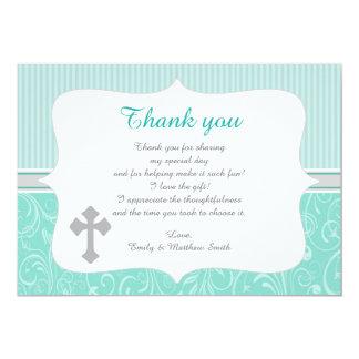 El bautismo unisex de la turquesa le agradece invitación 12,7 x 17,8 cm