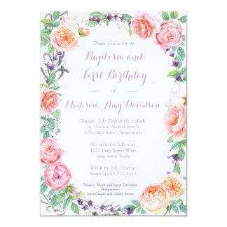 El bautismo y la fiesta de cumpleaños florales invitación 12,7 x 17,8 cm