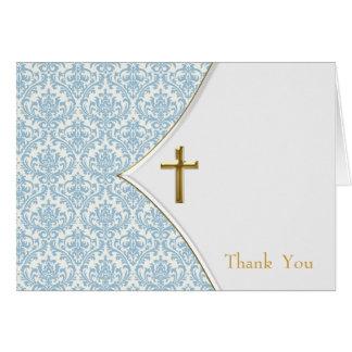 El bautizo azul del damasco le agradece tarjeta pequeña