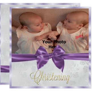 El bautizo del chica del gemelo de la foto del invitación 13,3 cm x 13,3cm