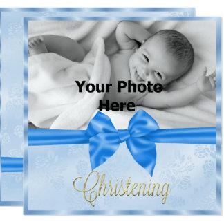 El bautizo del muchacho de la foto del lazo de invitación 13,3 cm x 13,3cm