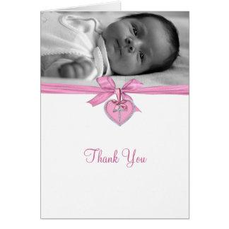 El bautizo rosado de la foto del arco le agradece tarjeta pequeña