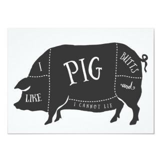 El Bbq I tiene gusto de extremos del cerdo y no Invitación 11,4 X 15,8 Cm