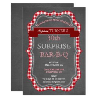 El Bbq rústico del cumpleaños de la sorpresa de la Invitación 12,7 X 17,8 Cm
