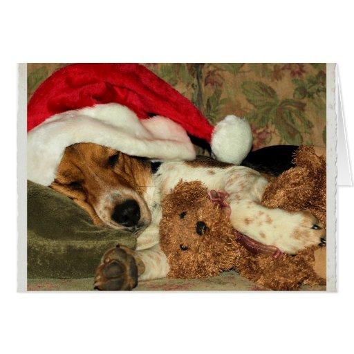 El beagle Claus, navidad le agradece cardar Tarjeta