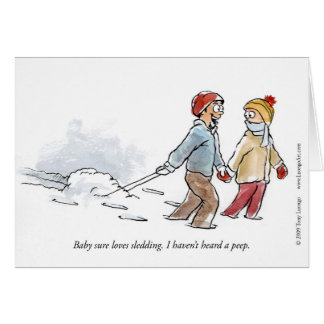 El bebé ama el Sledding de la tarjeta de felicitac