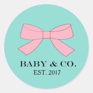 El bebé azul y rosado del trullo del BEBÉ y del CO Pegatina Redonda