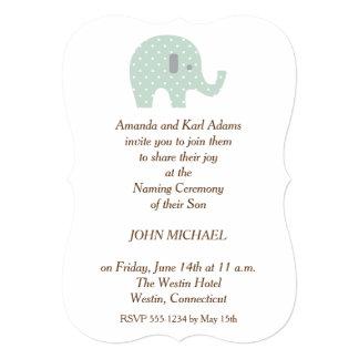 El bebé del elefante de PolkaDot que nombra Invitación 12,7 X 17,8 Cm