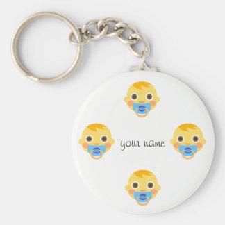 """El bebé Emoji hace frente y '' su nombre aquí """" Llavero"""