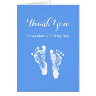 El bebé le agradece las huellas recién nacidas tarjeta pequeña