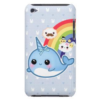 El bebé lindo narwhal con el arco iris y el kawaii funda para iPod de barely there