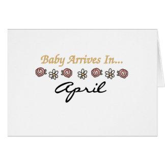 El bebé llega en abril felicitacion