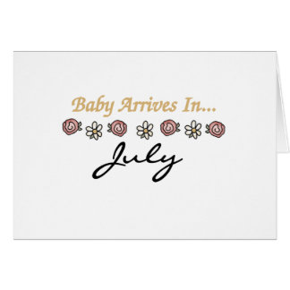 El bebé llega en julio tarjeta de felicitación