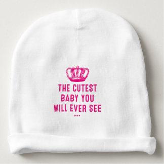 El bebé más lindo de la corona rosada gorrito para bebe