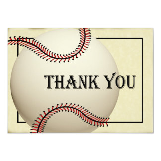 El béisbol del vintage le agradece tarjeta plana invitación 11,4 x 15,8 cm