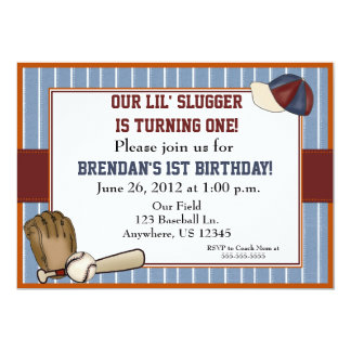 El béisbol embroma la invitación del cumpleaños invitación 12,7 x 17,8 cm