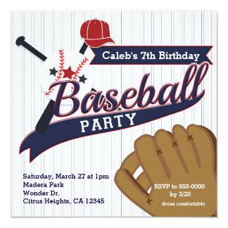 El béisbol se divierte a la fiesta de cumpleaños invitación 13,3 cm x 13,3cm
