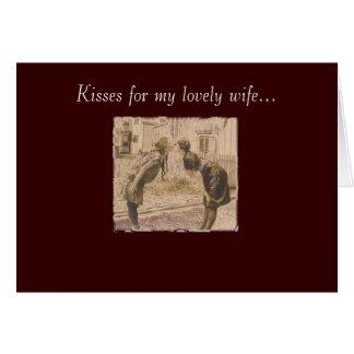 el besarse de la vintage mujer tarjeta de felicitación