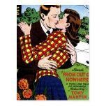 El besarse en el verde postal