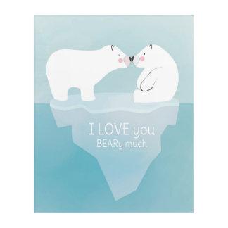 El besarse lindo de los osos polares. Decoración