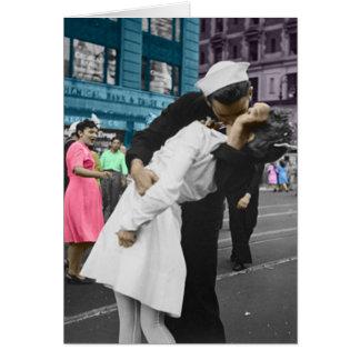 El beso de la Segunda Guerra Mundial Tarjeta De Felicitación