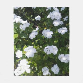 El bígaro blanco lindo florece la manta del paño