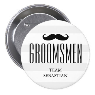 El bigote de encargo del padrino de boda de los chapa redonda de 7 cm