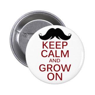 El bigote divertido guarda calma y crece encendido chapa redonda 5 cm