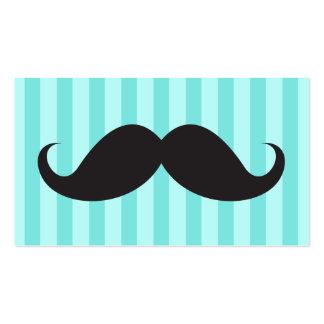El bigote negro de la diversión en la aguamarina r tarjetas de visita