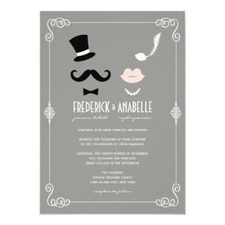 El bigote y el boda elegante del vintage retro de invitación 12,7 x 17,8 cm