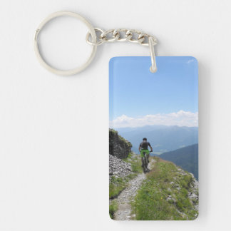 El Biking de la montaña Llavero Rectangular Acrílico A Doble Cara