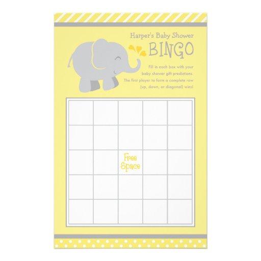 El bingo de la fiesta de bienvenida al bebé del el tarjetón
