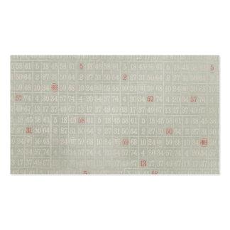 El bingo gris del vintage numera el fondo plantilla de tarjeta de negocio