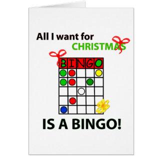 El BINGO I quiere un bingo para el navidad Tarjeta De Felicitación