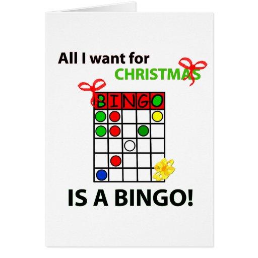El BINGO I quiere un bingo para el navidad Tarjeton