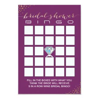 El bingo nupcial de la ducha carda púrpura del invitación 8,9 x 12,7 cm