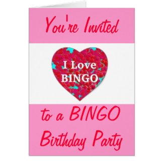 El bingo salta la invitación tarjeta de felicitación