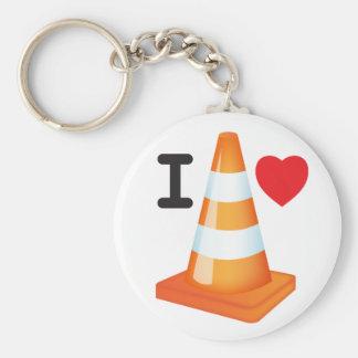 El blanco anaranjado del cono del tráfico raya llaveros